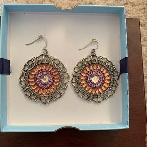 Round Earrings, Textured Earrings, 2 inch Dangle